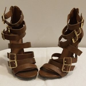 Mossimo Strappy Buckled Brown Heels